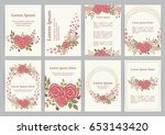 romantic wedding invitation set ... | Shutterstock .eps vector #653143420