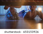 the scared boy and girl with a... | Shutterstock . vector #653153926