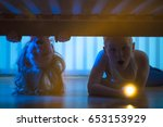 the surprised boy and girl with ... | Shutterstock . vector #653153929