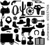 vector cowboy pictogram | Shutterstock .eps vector #653157436