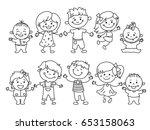 cheerful children standing... | Shutterstock .eps vector #653158063
