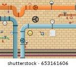pipeline plumbing background | Shutterstock .eps vector #653161606