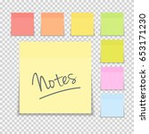 sticky paper note on... | Shutterstock .eps vector #653171230