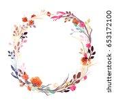 vintage wreath pattern  flower  ... | Shutterstock .eps vector #653172100