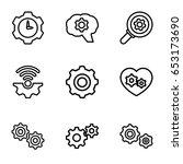 cogwheel icons set. set of 9...   Shutterstock .eps vector #653173690