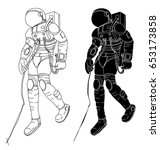 hand drawn the cosmonaut in... | Shutterstock .eps vector #653173858