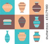 pottery icon set. stock vector... | Shutterstock .eps vector #653179480