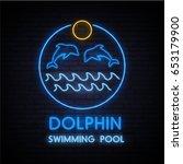 dolphin swimming pool. neon...   Shutterstock .eps vector #653179900