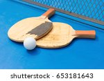 old pingpong rackets and ball...   Shutterstock . vector #653181643