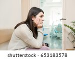 young patient sitting in doctor'... | Shutterstock . vector #653183578
