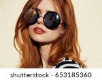 beauty woman in sunglasses  sun ... | Shutterstock . vector #653185360