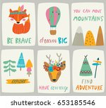 set of vector nursery posters... | Shutterstock .eps vector #653185546