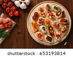 crostini with different...   Shutterstock . vector #653193814