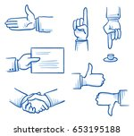 set with different hand icons... | Shutterstock .eps vector #653195188
