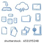 set with different file sharing ... | Shutterstock .eps vector #653195248
