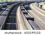 rail cars loaded with coal  a... | Shutterstock . vector #653199133