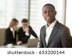 attractive afro american... | Shutterstock . vector #653200144