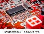 close up of electronic circuits ... | Shutterstock . vector #653205796