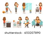 smiling housewife and happy... | Shutterstock .eps vector #653207890