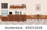 empty cafe interior. flat... | Shutterstock .eps vector #653212618