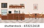 Empty cafe interior. Flat design vector illustration  | Shutterstock vector #653212618
