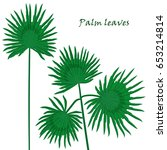 set tropical palm leaves.... | Shutterstock .eps vector #653214814