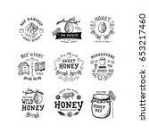 set of badge honey. hand drawn...   Shutterstock .eps vector #653217460