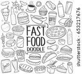 fast food doodle. icons hand... | Shutterstock .eps vector #653217676