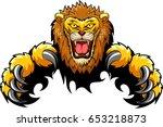 lion attack concept. vector... | Shutterstock .eps vector #653218873