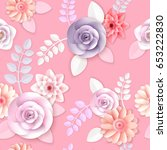 vector flowers seamless pattern ... | Shutterstock .eps vector #653222830