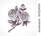 Roses. Stylized Flower Bouquet...