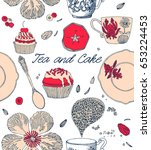 tea and cake seamless pattern.... | Shutterstock .eps vector #653224453