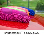 multicolored of microfiber... | Shutterstock . vector #653225623