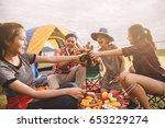 group of friends asian camp... | Shutterstock . vector #653229274