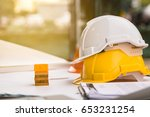 white  yellow hard safety... | Shutterstock . vector #653231254