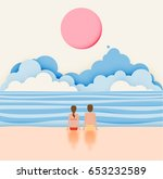 couple on the beach with paper... | Shutterstock .eps vector #653232589
