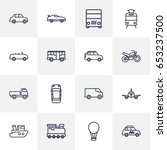 set of 16 traffic outline icons ... | Shutterstock .eps vector #653237500