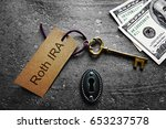 gold key with roth ira tag ... | Shutterstock . vector #653237578