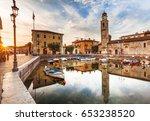 port lazise on lake garda  | Shutterstock . vector #653238520