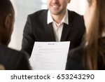 close up of employers or... | Shutterstock . vector #653243290