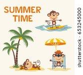 summer time. set happy monkey ... | Shutterstock .eps vector #653245000