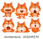 set of cute orange cat cartoon... | Shutterstock .eps vector #653245570