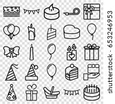 birthday icons set. set of 25... | Shutterstock .eps vector #653246953