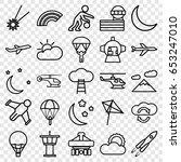 Sky Icons Set. Set Of 25 Sky...