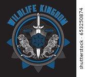 wild life kingdom typography ... | Shutterstock .eps vector #653250874