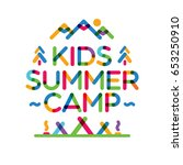 kids summer camp card with... | Shutterstock .eps vector #653250910