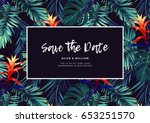 floral wedding invitation with... | Shutterstock .eps vector #653251570
