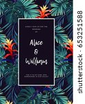 floral wedding invitation with... | Shutterstock .eps vector #653251588