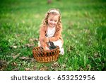 happy girl with rabbit in the... | Shutterstock . vector #653252956