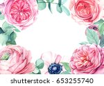 beautiful watercolor card... | Shutterstock . vector #653255740
